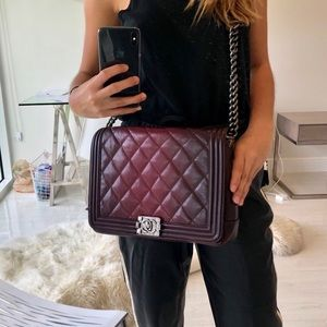 Chanel Ombré Large Boybag Burgundy